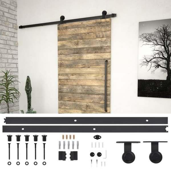 vidaXL Set feronerie pentru ușă glisantă, negru, 183 cm, oțel