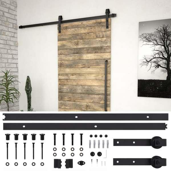 vidaXL Set feronerie pentru uși glisante, negru, 183 cm, oțel