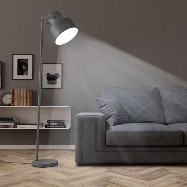 vidaXL Lampă de podea, gri, metal, E27