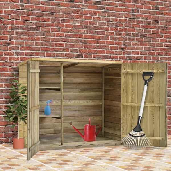 vidaXL Magazie unelte de grădină, 135x60x123 cm, lemn pin tratat