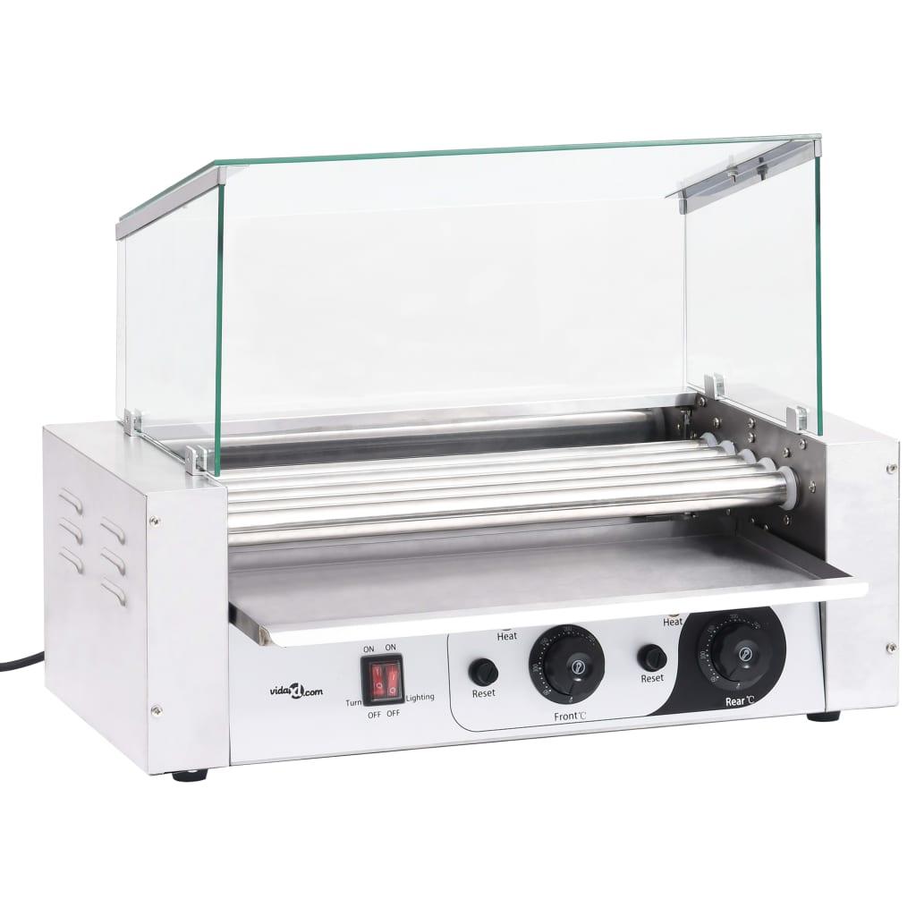 vidaXL Aparat hot-dog 5 role cu capac din sticlă 1000 W