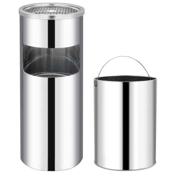 vidaXL Coș de gunoi cu scrumieră, pentru hotel, oțel inoxidabil, 30 L