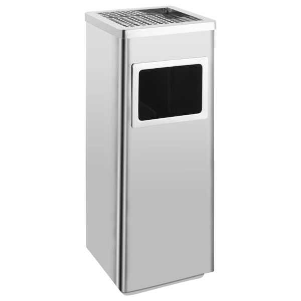 vidaXL Coș de gunoi cu scrumieră, pentru hotel, oțel inoxidabil, 36 L