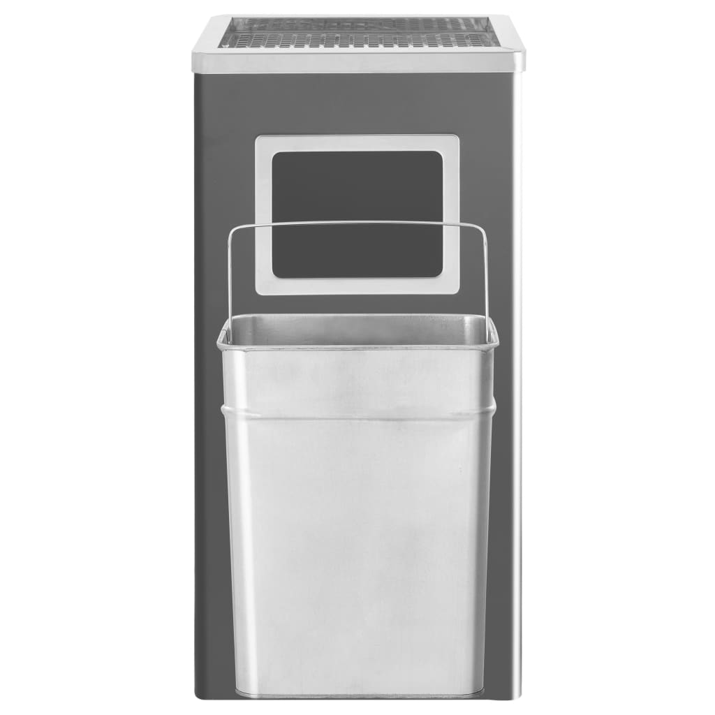 vidaXL Coș de gunoi cu scrumieră, pentru hotel, negru, oțel, 45 L