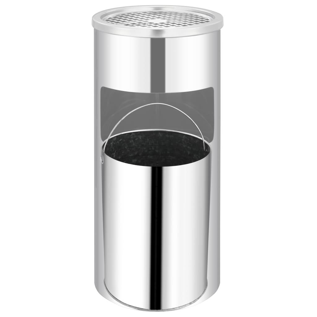 vidaXL Coș de gunoi de perete cu scrumieră, oțel inoxidabil, 26 L