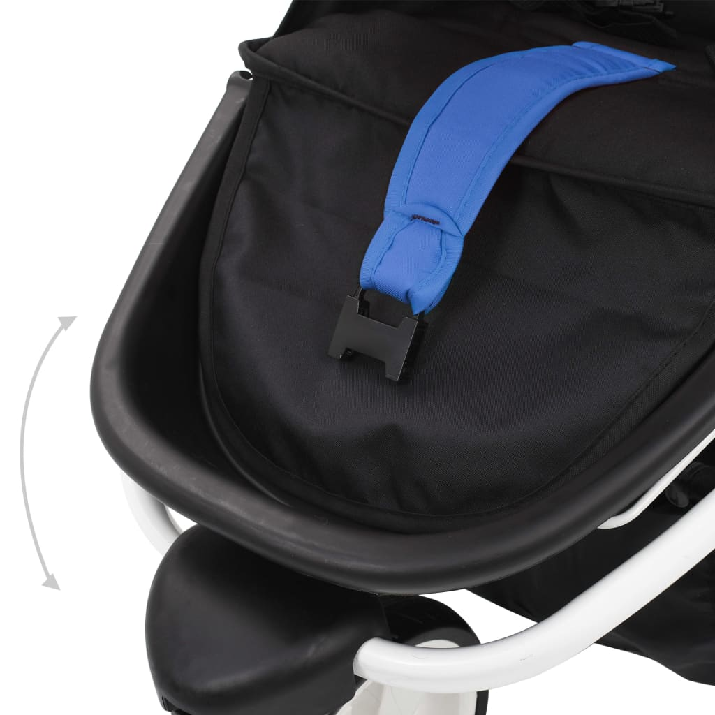 vidaXL Cărucior cu 3 roți pentru copii, albastru și negru