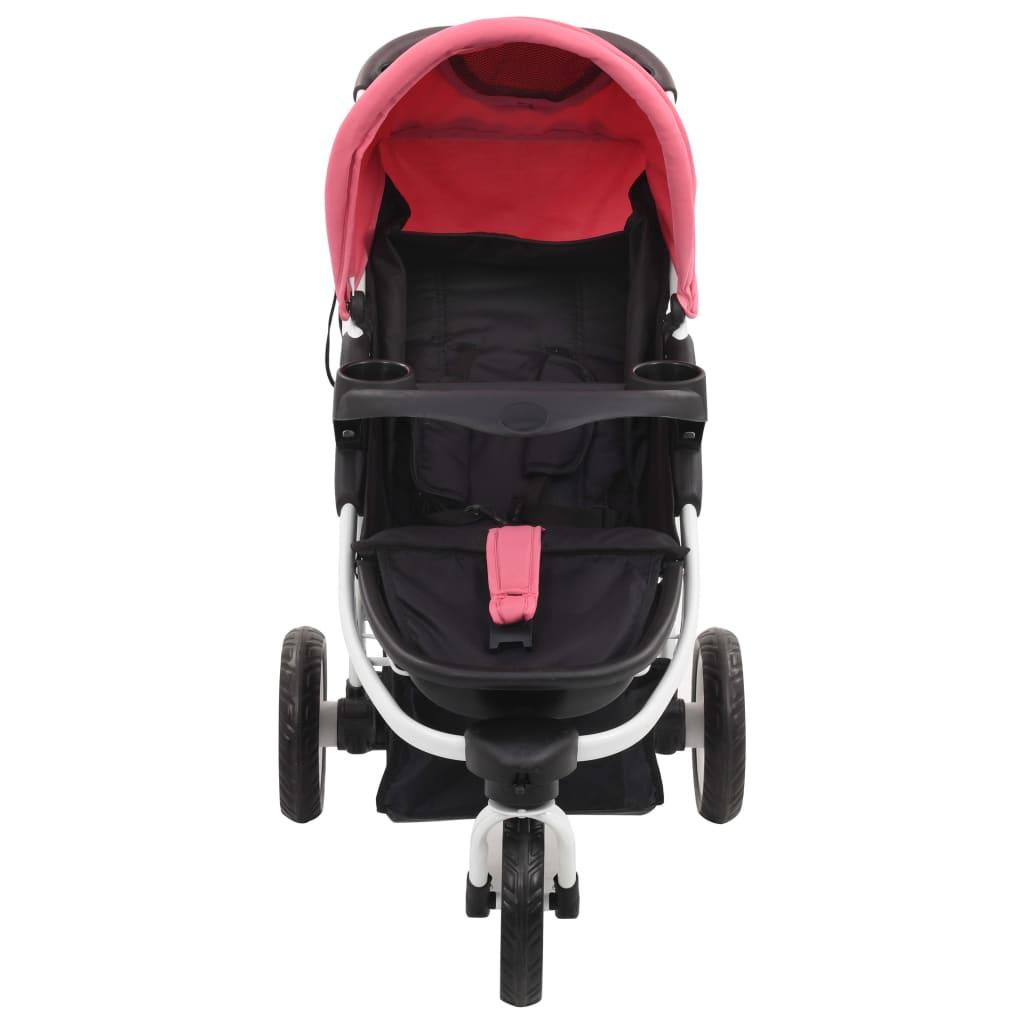vidaXL Cărucior cu 3 roți pentru copii, roz și negru