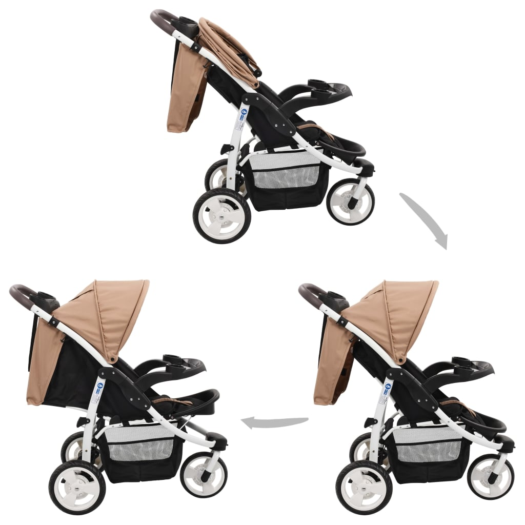 vidaXL Cărucior cu 3 roți pentru copii, gri taupe și negru