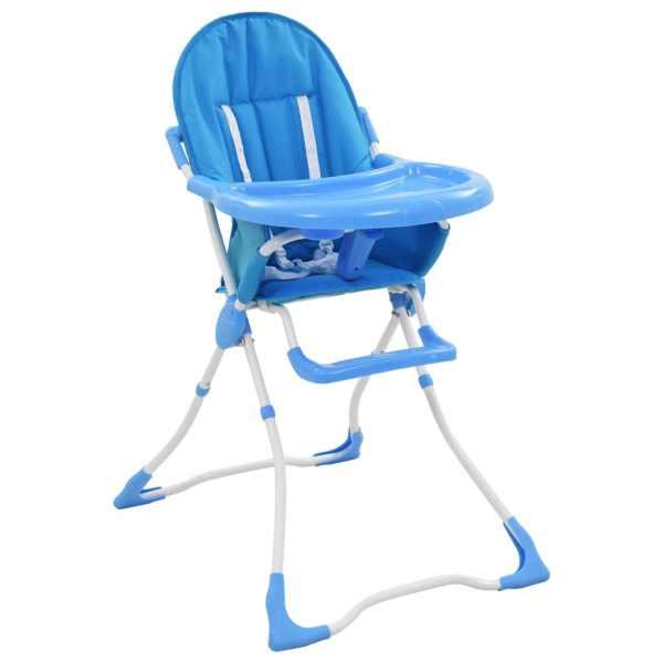 vidaXL Scaun de masă înalt pentru copii, albastru și alb