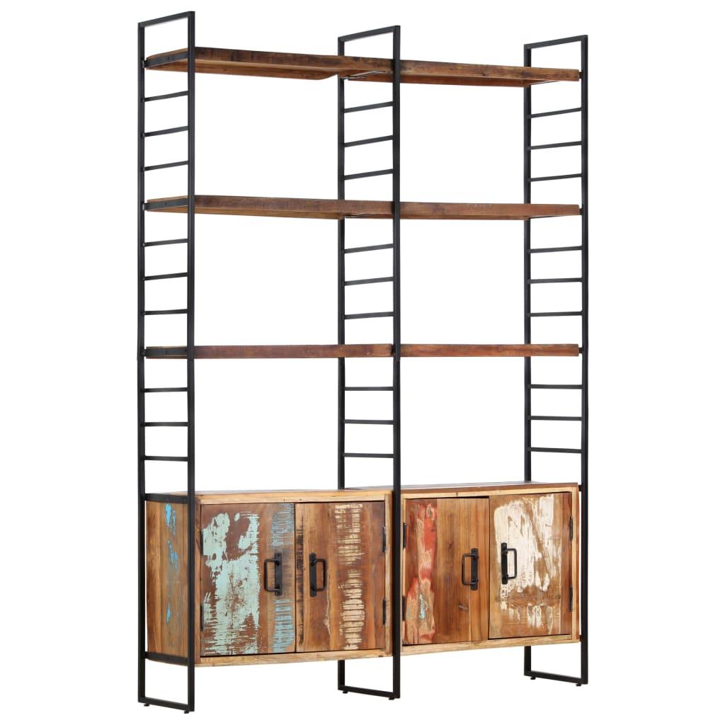 Bibliotecă cu 4 rafturi, 124 x 30 x 180 cm, lemn masiv reciclat
