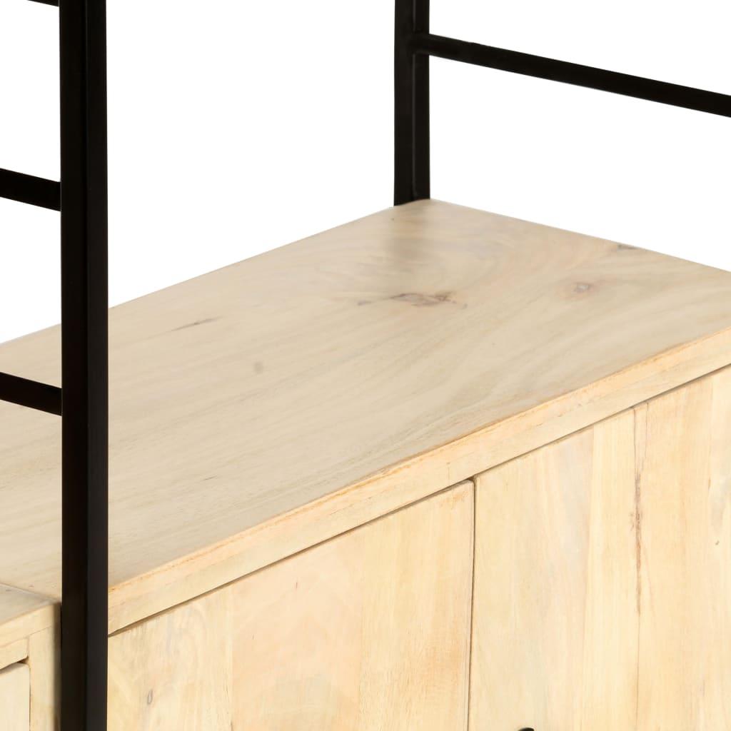 Bibliotecă cu 4 rafturi, 124 x 30 x 180 cm, lemn masiv de mango