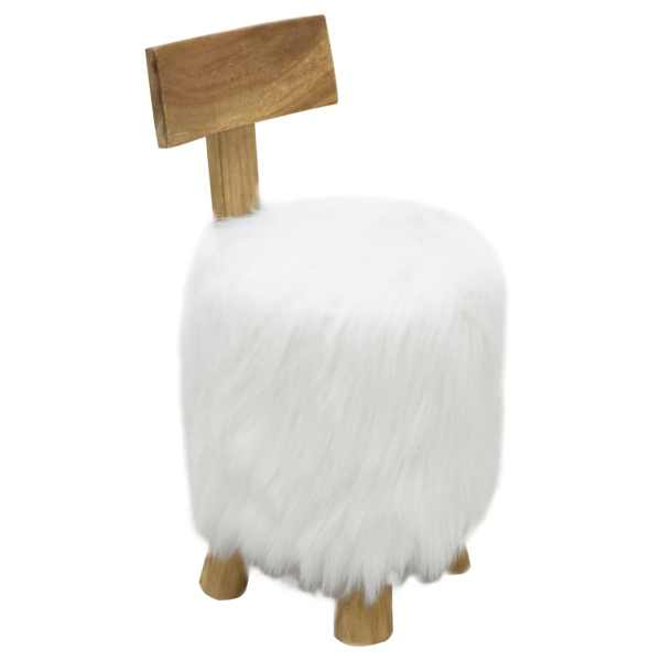 vidaXL Taburet, alb, lemn masiv de tec