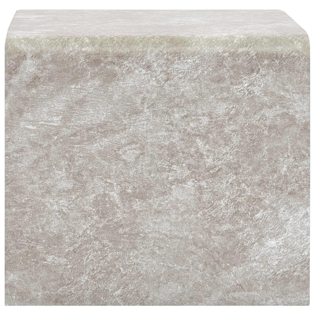 Măsuță de cafea, marmură maro, 50x50x45 cm, sticlă securizată