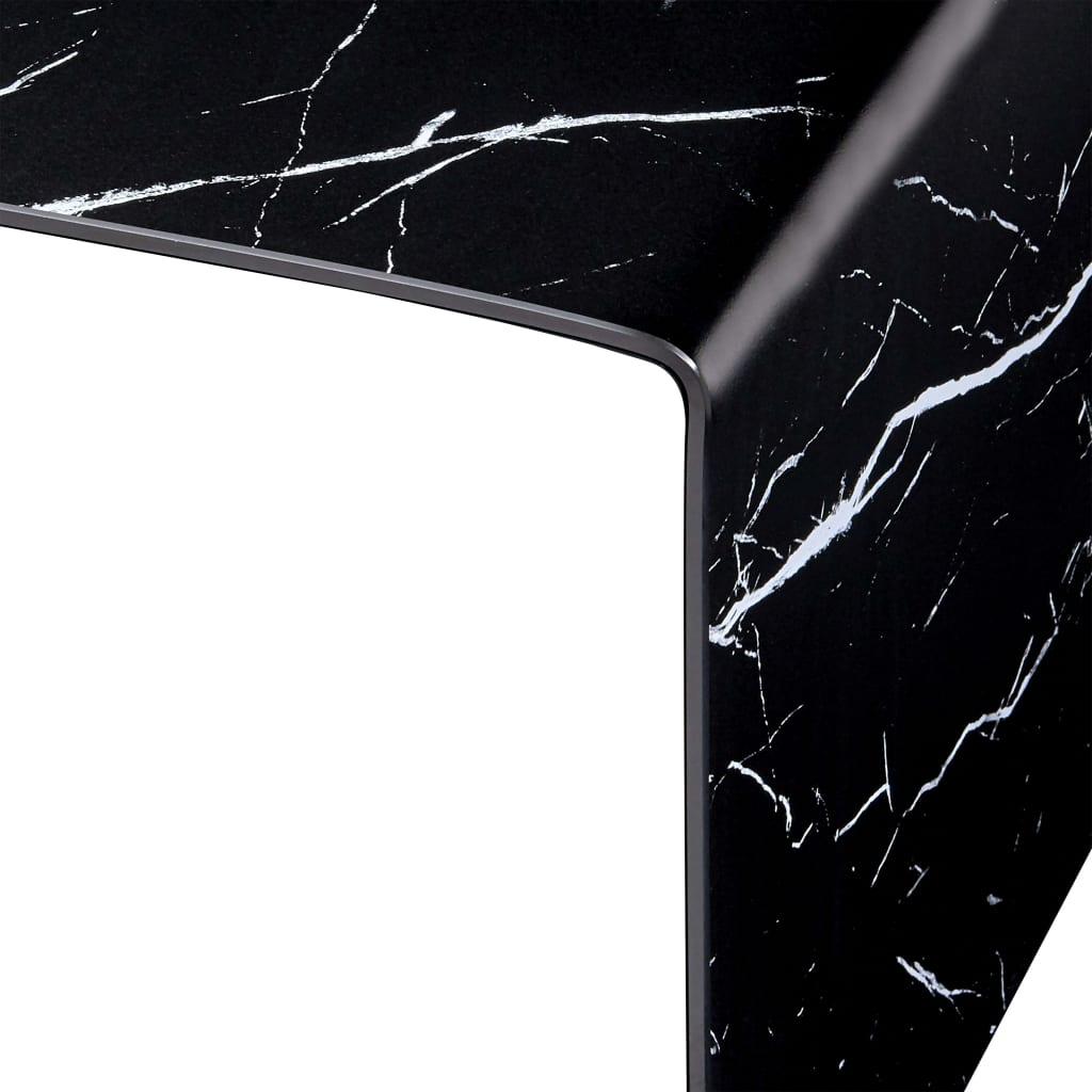 Măsuță de cafea, marmură neagră, 50x50x45 cm, sticlă securizată
