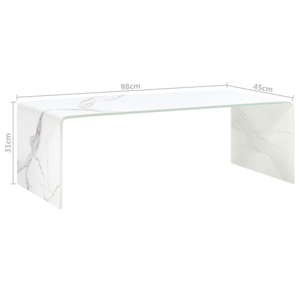 Măsuță de cafea, marmură albă, 98x45x31 cm, sticlă securizată