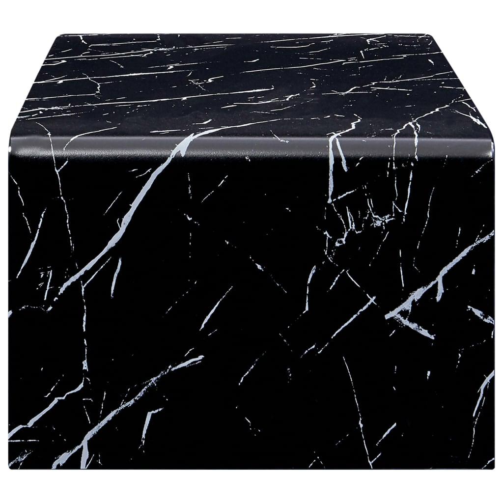 Măsuță de cafea, marmură neagră, 98x45x31 cm, sticlă securizată
