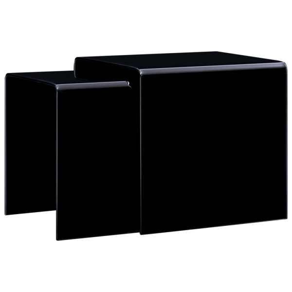 vidaXL Mese cafea suprapuse, 2 buc., negru, 42 x 42 x 41,5 cm, sticlă