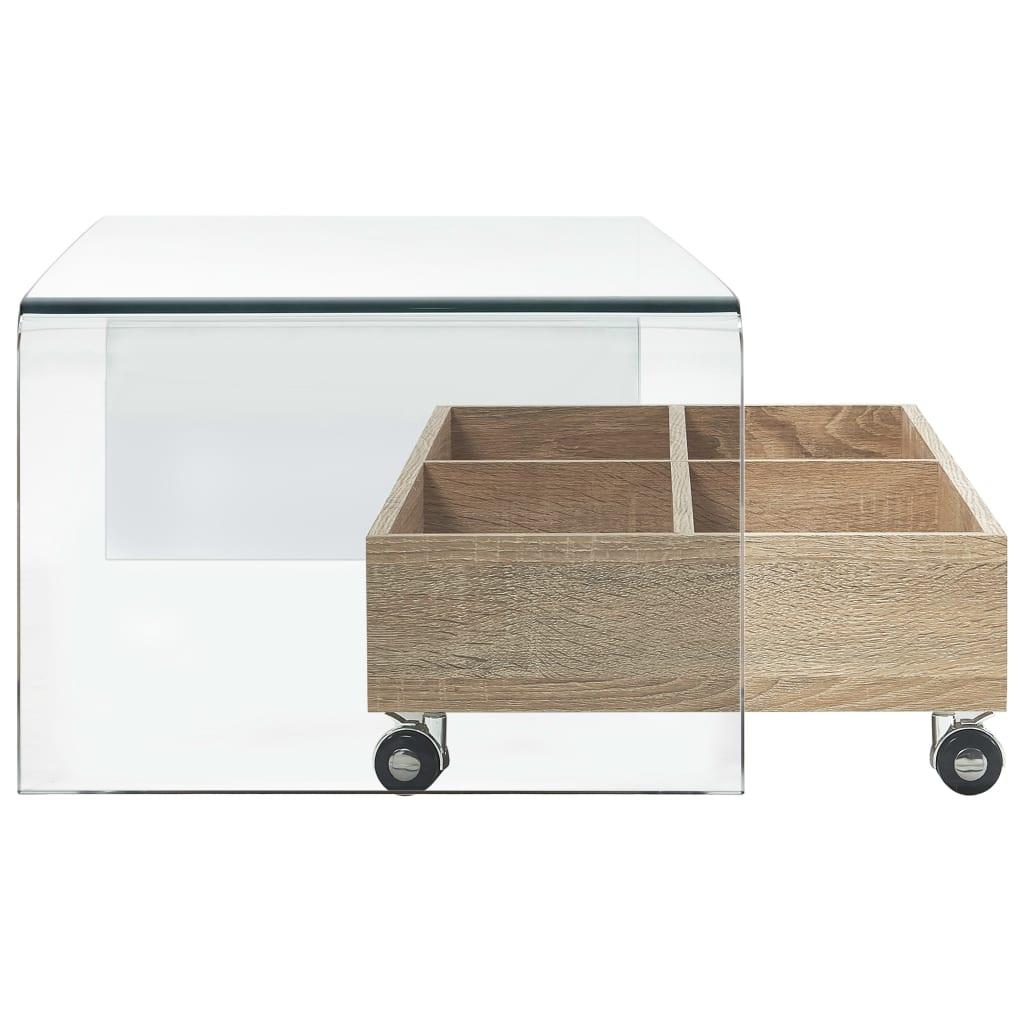 Măsuță de cafea, transparentă, 98x45x31 cm, sticlă securizată