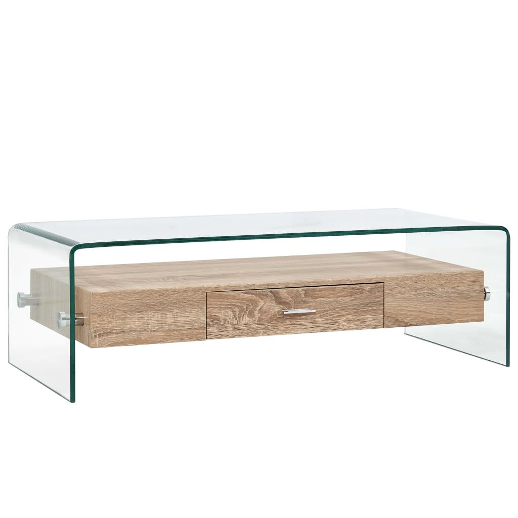 vidaXL Măsuță de cafea, transparent, 98x45x31 cm, sticlă securizată