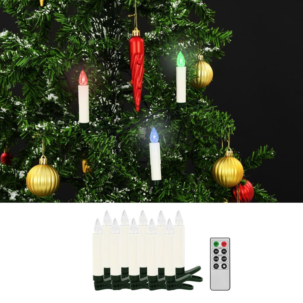 vidaXL Lumânări LED wireless cu telecomandă 10 buc. RGB