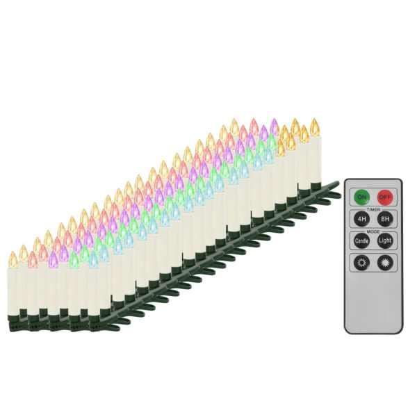 vidaXL Lumânări Crăciun LED wireless cu telecomandă 100 buc. RGB