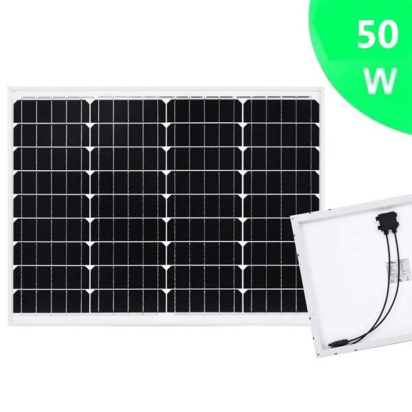 Panou solar 50 W, aluminiu monocristalin și sticlă securizată