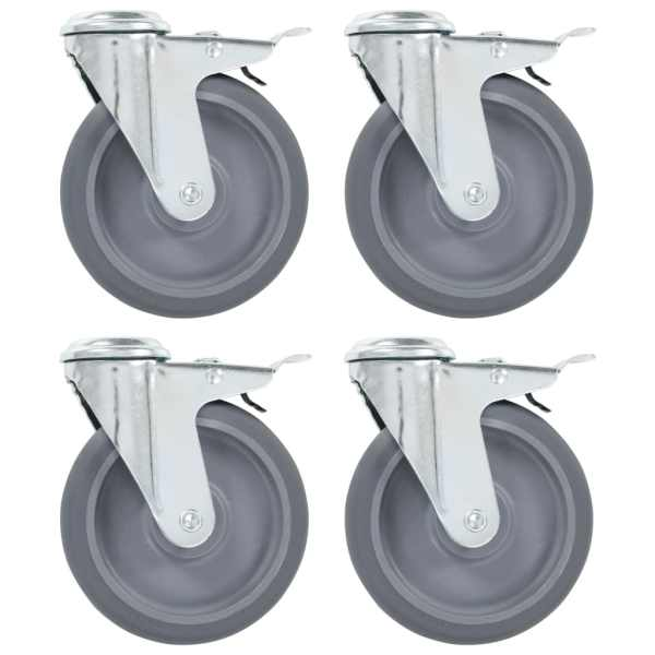 vidaXL Roți pivotante cu gaură pentru șurub, 8 buc., 125 mm