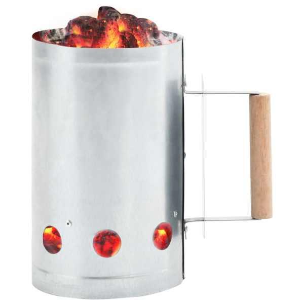 vidaXL Demaror șemineu și grătar cu cărbune, oțel galvanizat