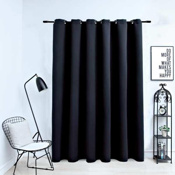vidaXL Draperie opacă cu inele metalice, negru, 290 x 245 cm