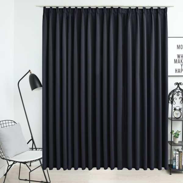 vidaXL Draperie opacă, negru, 290 x 245 cm, cu cârlige