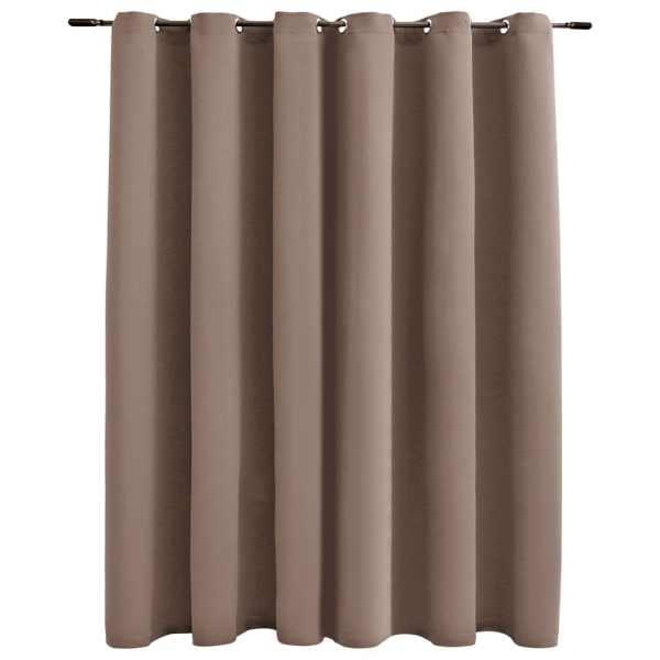 vidaXL Draperie opacă cu inele metalice, gri taupe, 290 x 245 cm