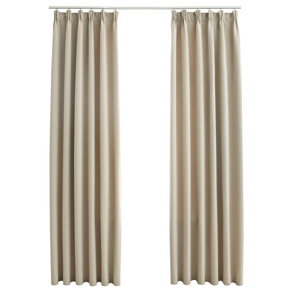 Draperii opace cu cârlige, 2 buc., bej, 140 x 225 cm