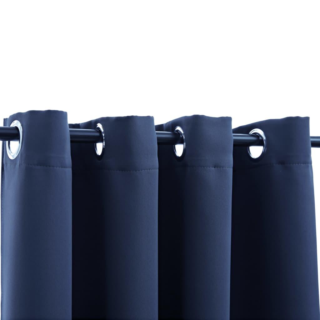 Draperii opace cu inele metalice, 2 buc, albastru, 140 x 225 cm