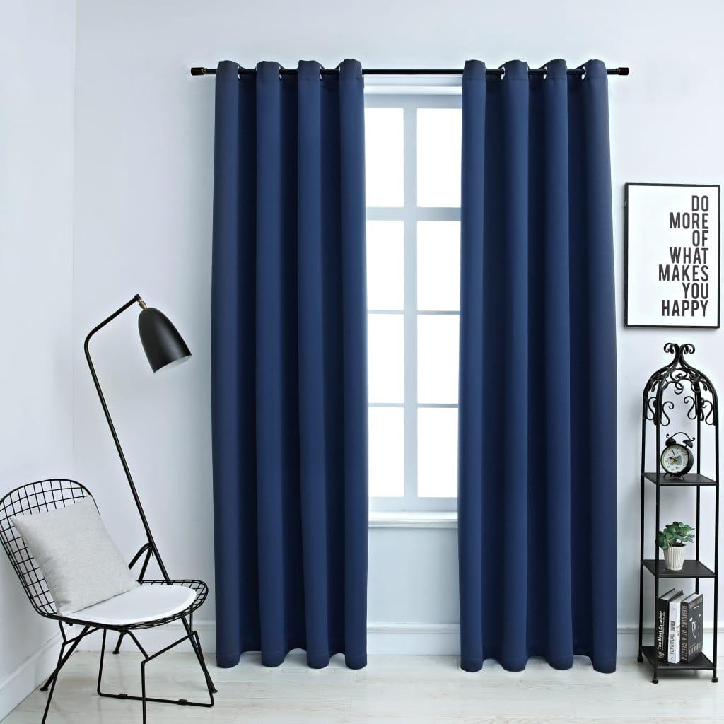 vidaXL Draperii opace cu inele metalice, 2 buc, albastru, 140 x 225 cm