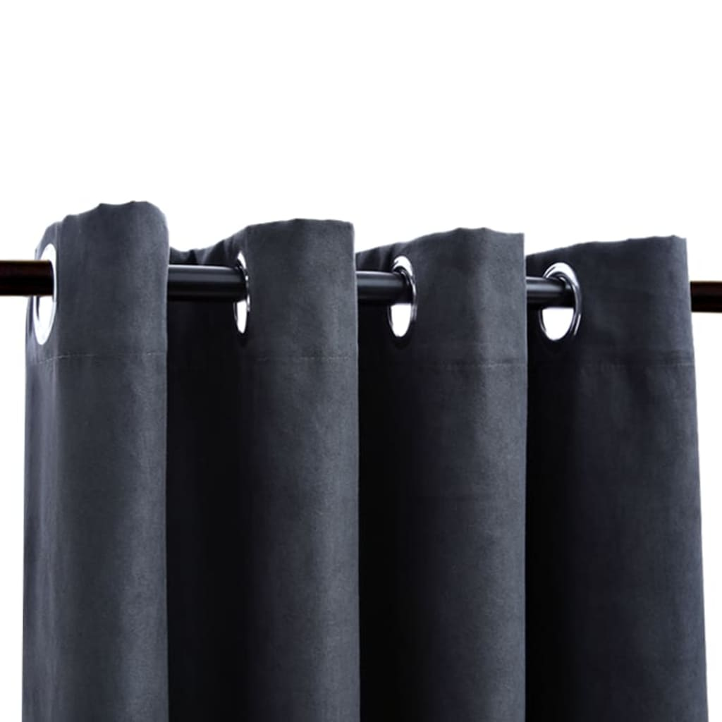 Draperii opace cu inele metalice, 2 buc, antracit, 140 x 245 cm