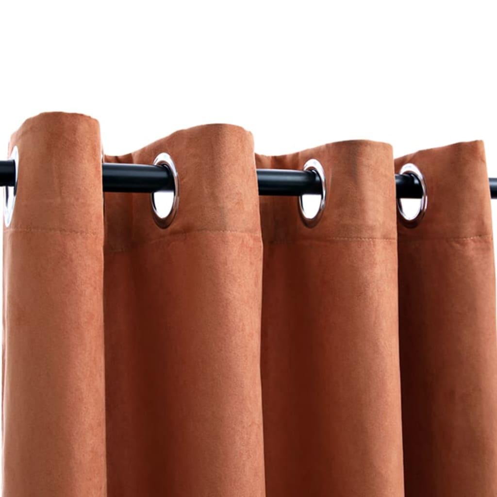 Draperii opace cu inele metalice, 2 buc, ruginiu, 140×245 cm