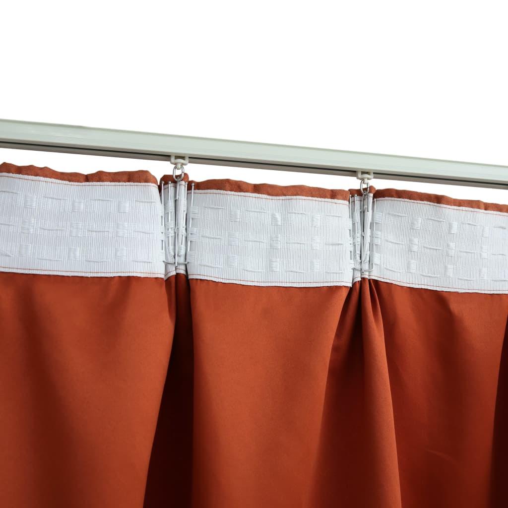 vidaXL Draperii opace cu cârlige, 2 buc., ruginiu, 140 x 175 cm