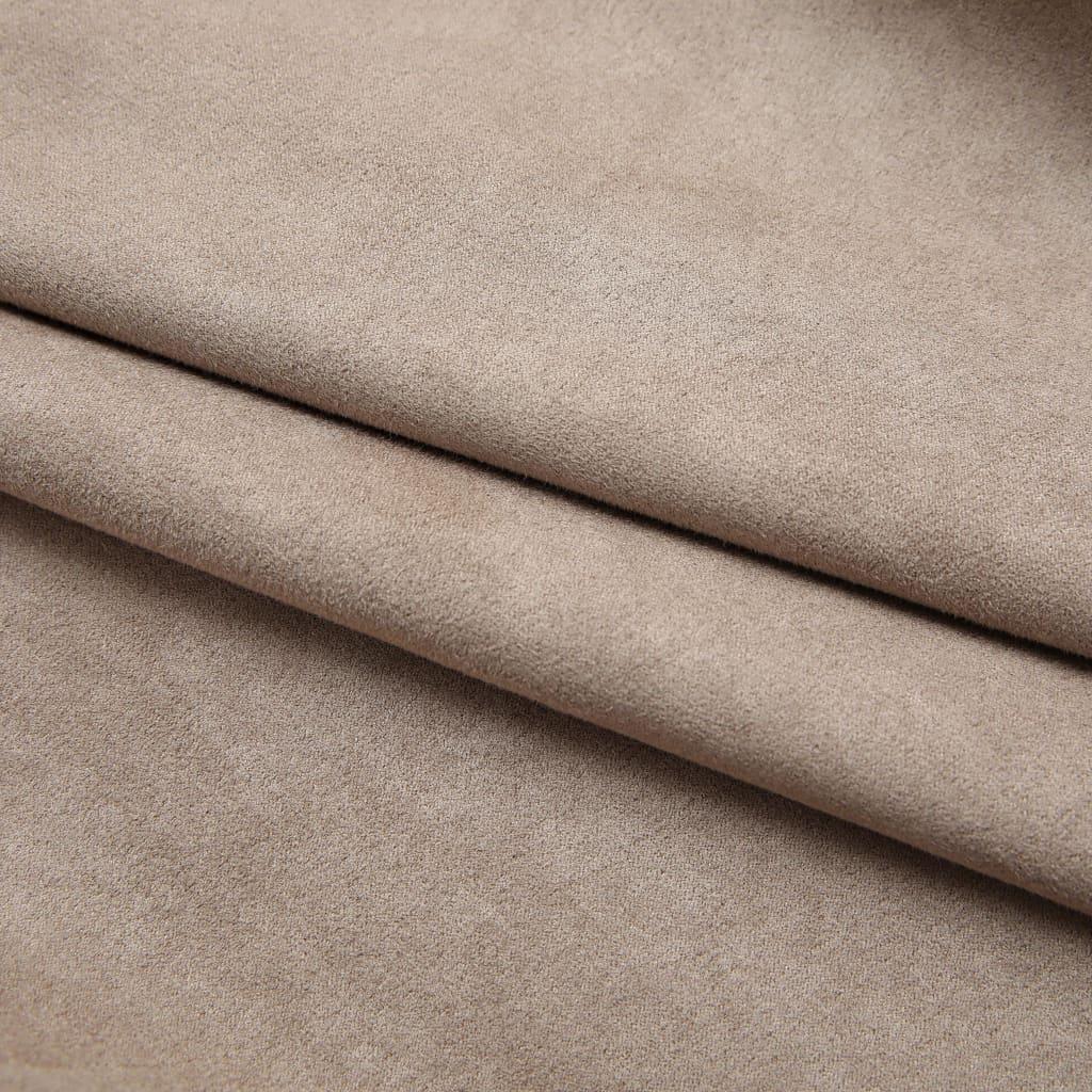 vidaXL Draperii opace cu cârlige, 2 buc., gri taupe, 140 x 175 cm