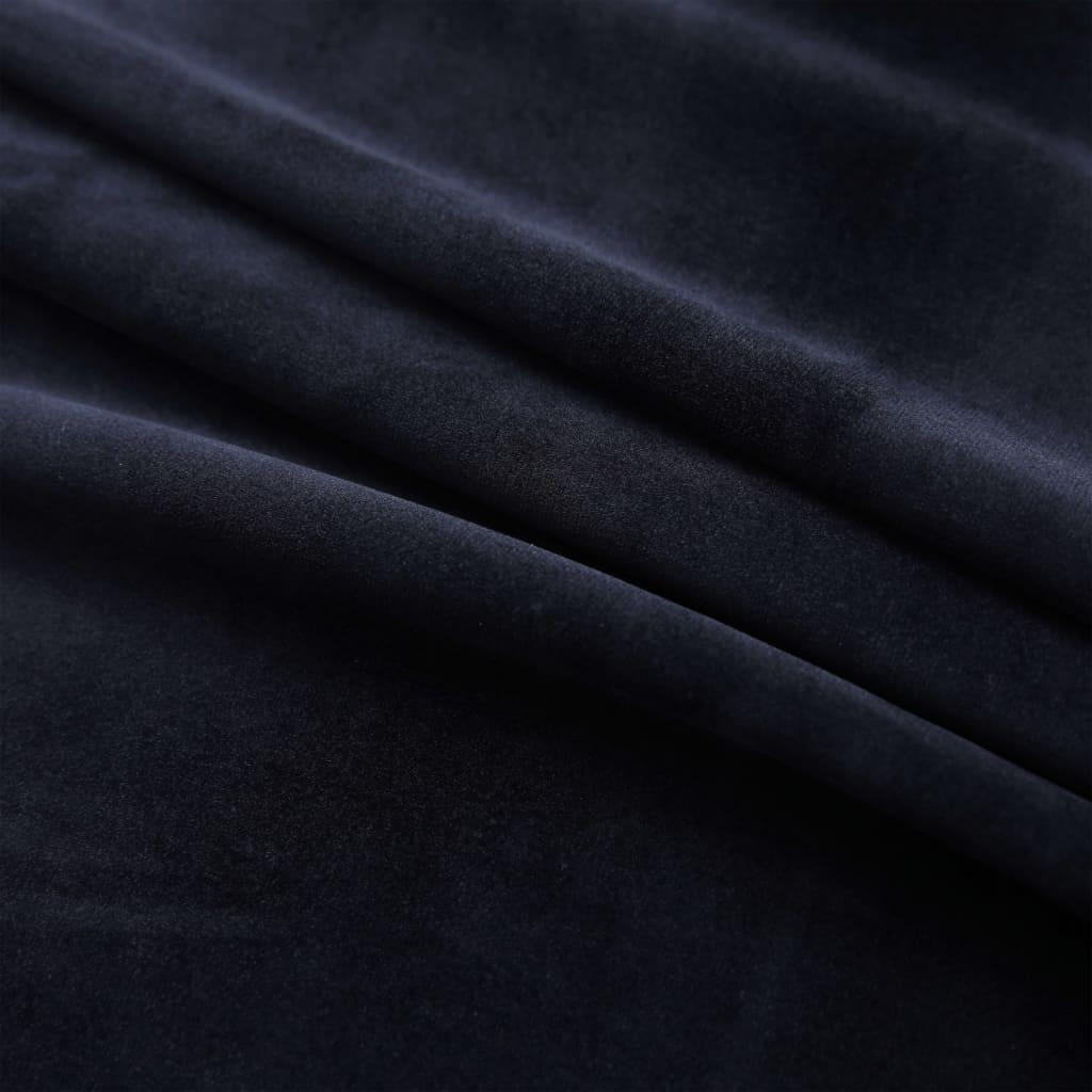 Draperii opace cu inele, 2 buc., negru, 140 x 175 cm, catifea