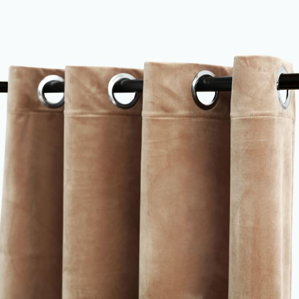 vidaXL Draperie opacă cu inele metalice, bej, 290 x 245 cm, catifea