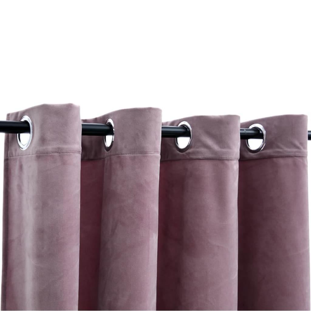 Draperii opace cu inele 2 buc. roz antichizat 140x225cm catifea