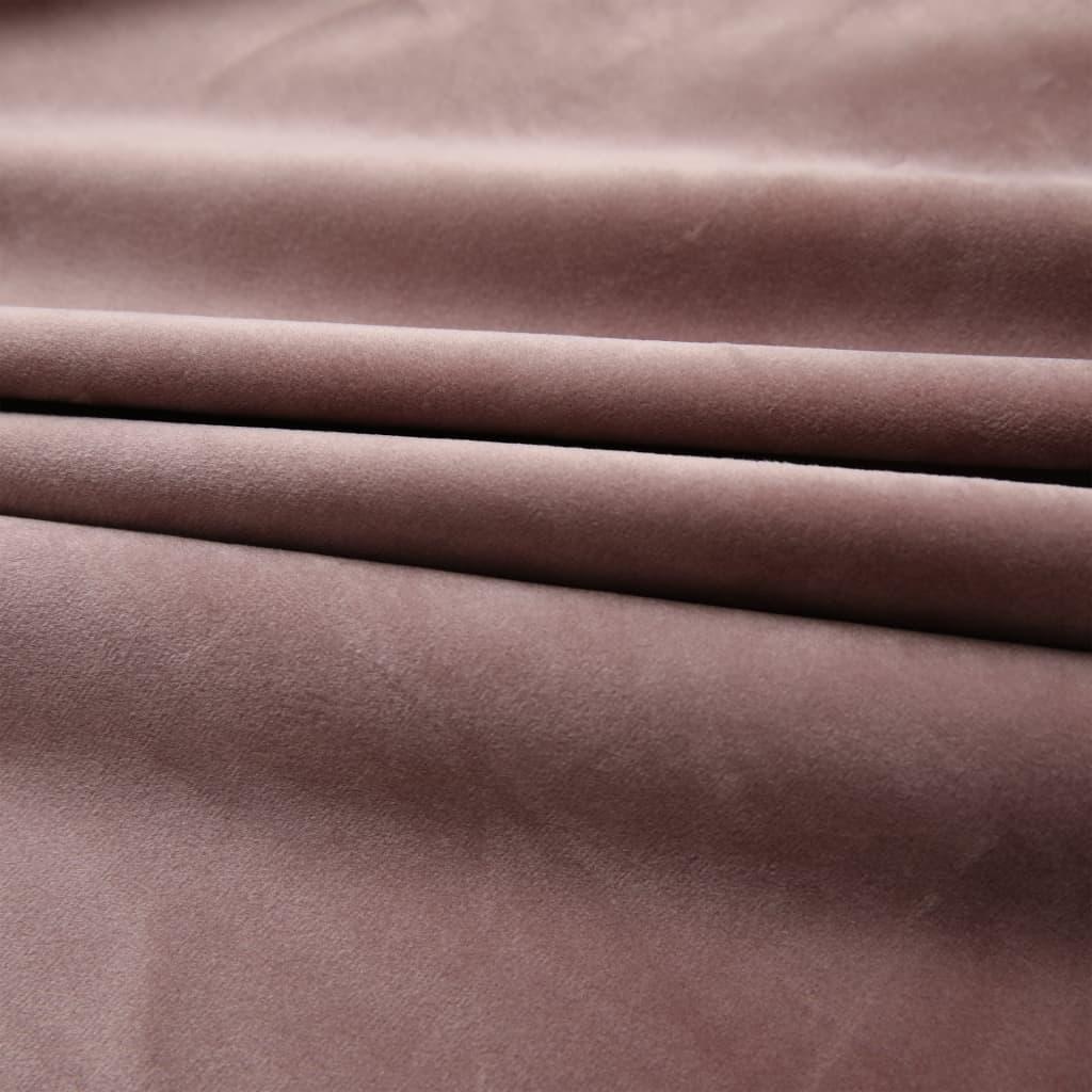 Draperii opace 2 buc. roz antichizat 140×245 cm catifea cârlige