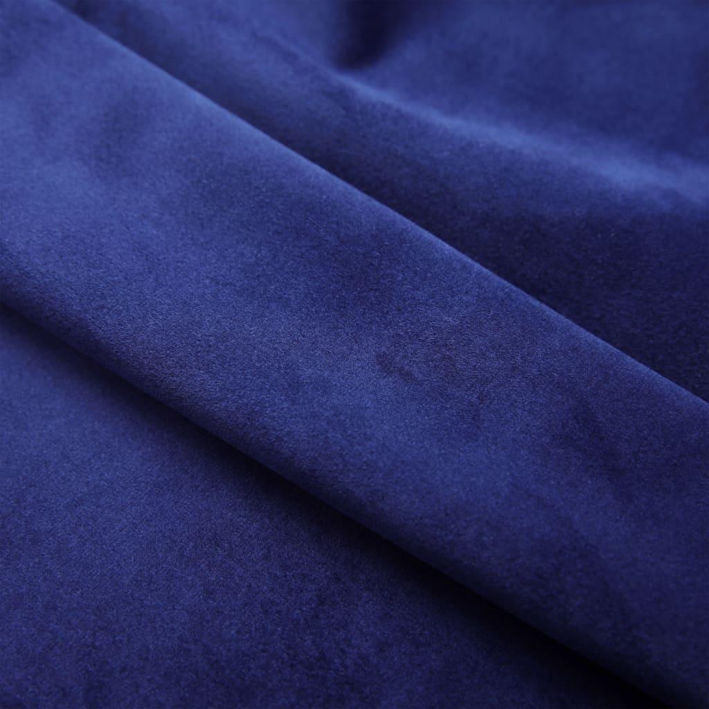 Draperii opace cu inele, 2 buc., albastru, 140×225 cm, catifea