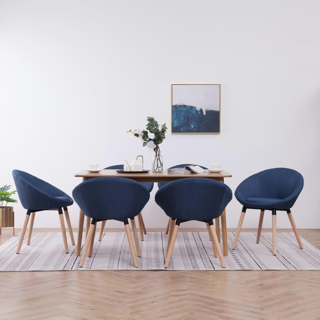 vidaXL Scaune de bucătărie, 6 buc., albastru, material textil