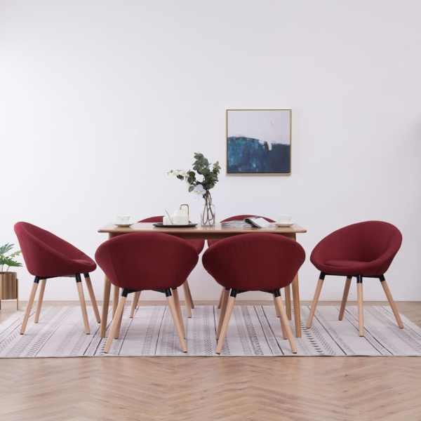 vidaXL Scaune de bucătărie, 6 buc., roșu vin, material textil
