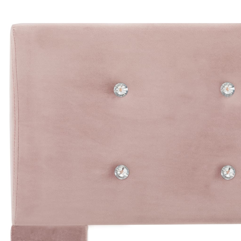 Pat cu saltea, roz, 120×200 cm, catifea