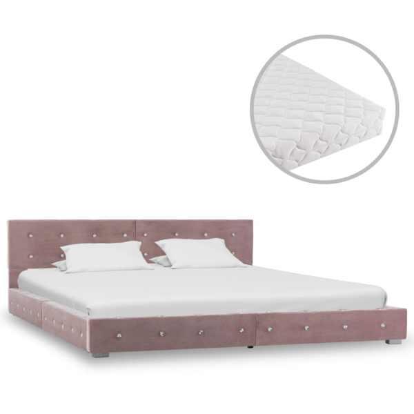 vidaXL Pat cu saltea, roz, 160 x 200 cm, catifea