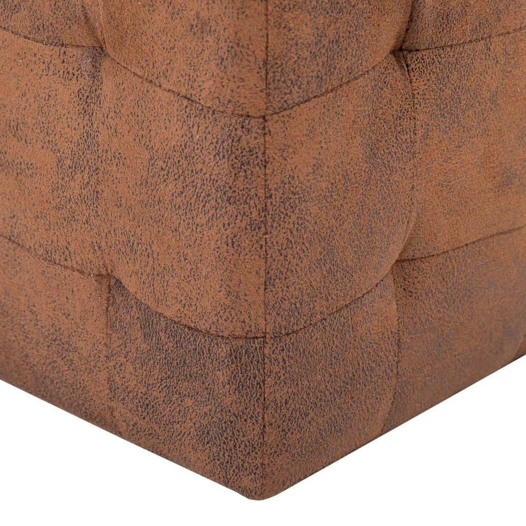 Taburet, 2 buc., maro, 30x30x30 cm, piele întoarsă ecologică