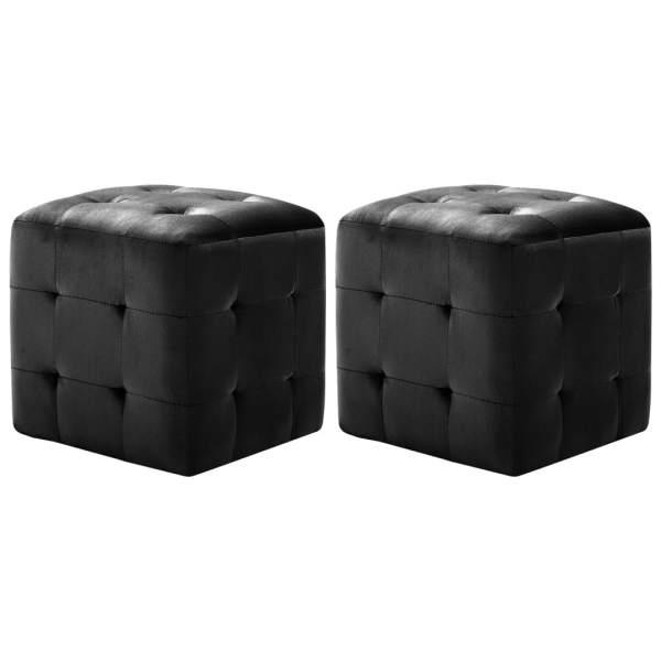 vidaXL Taburet, 2 buc., negru, 30 x 30 x 30 cm, țesătură din catifea
