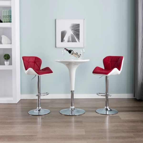 vidaXL Scaune de bar, 2 buc., roșu vin, piele artificială